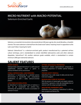 SelenoForce®: Micro-Nutrient with Macro-Potential