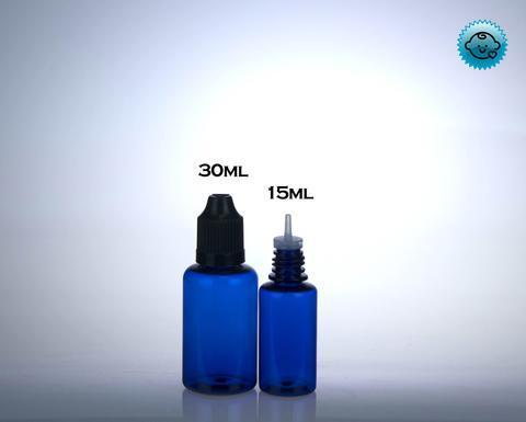 PET Blue Boston Round Bottles- Child Resistant (100 count-Includes Cap – DropperBottles.com