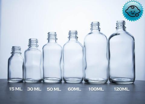 Clear Glass Dropper Bottles 18mm- Tamper Evident/Child Resistant (Vari – DropperBottles.com