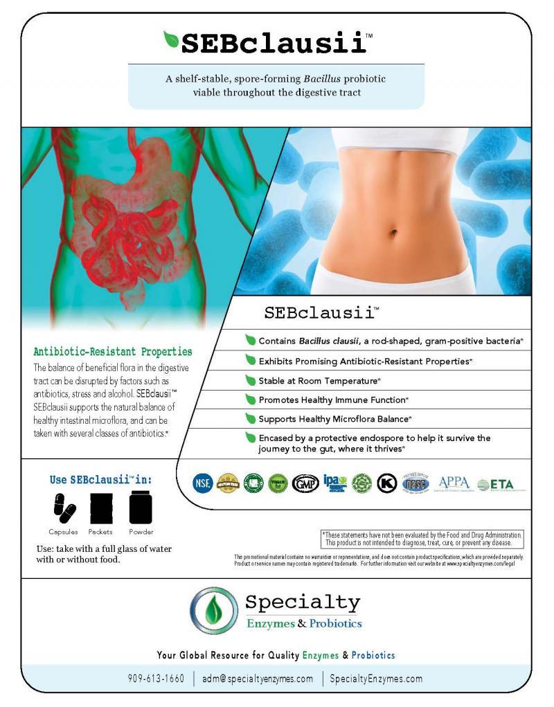 SEBclausii™ contains Bacillus clausii a shelf-stable, spore-forming Bacillus