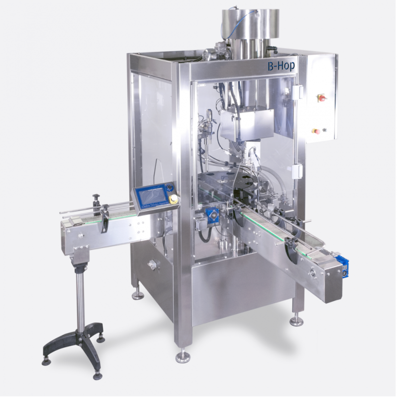 B-Hop automatic filling, labeling and capping system for glass bottles