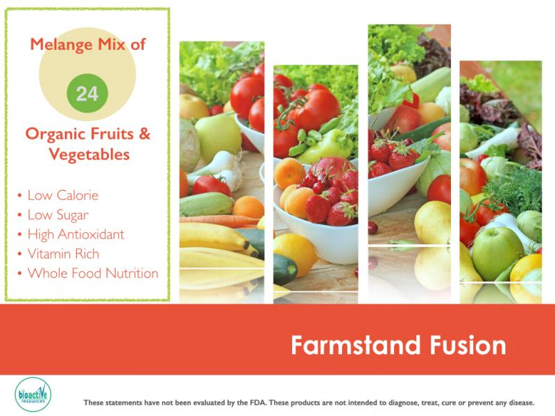 Farm Stand Fusion: 24 Organic Vegan Ingredients shelf stable powder blend for private label.