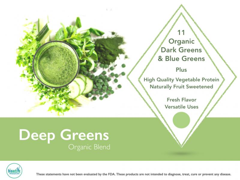 Deep Green Organic blend for private label. Shelf stable, vegan protein & 8 dark healthy greens