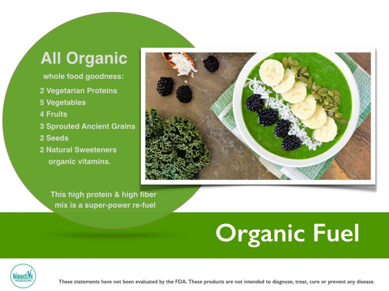 Organic Fuel : Vegan whole food & protein private label shelf stable blend