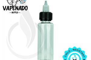 VAPENADO 60ml Bottle with Black/Clear Cap - Liquid Bottles LLC