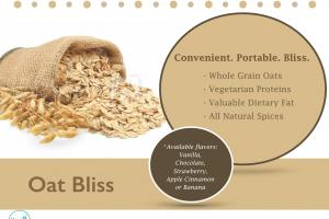 Oat Bliss shelf stable oat, protein & vitamin blend drink/bowl mix